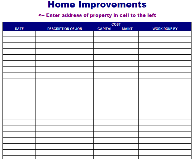 Home Improvement List Template